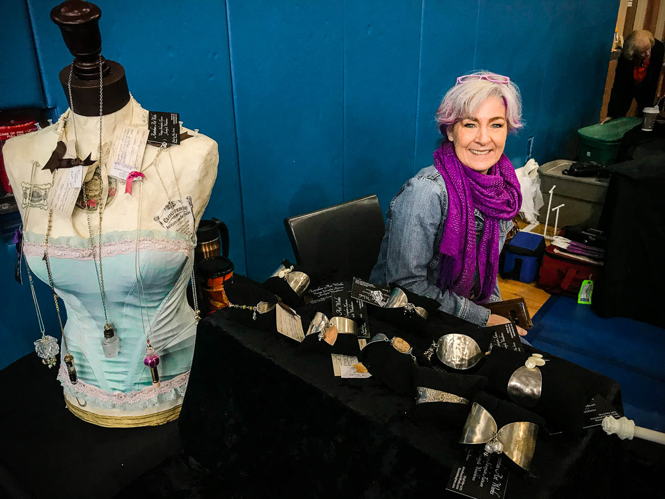 Artist Michele Antrobus hand-paints vintage corsets. Her business is called Antrobus Art Works. / Image: Katie Robinson, Cincinnati Refined // Published: 10.14.18