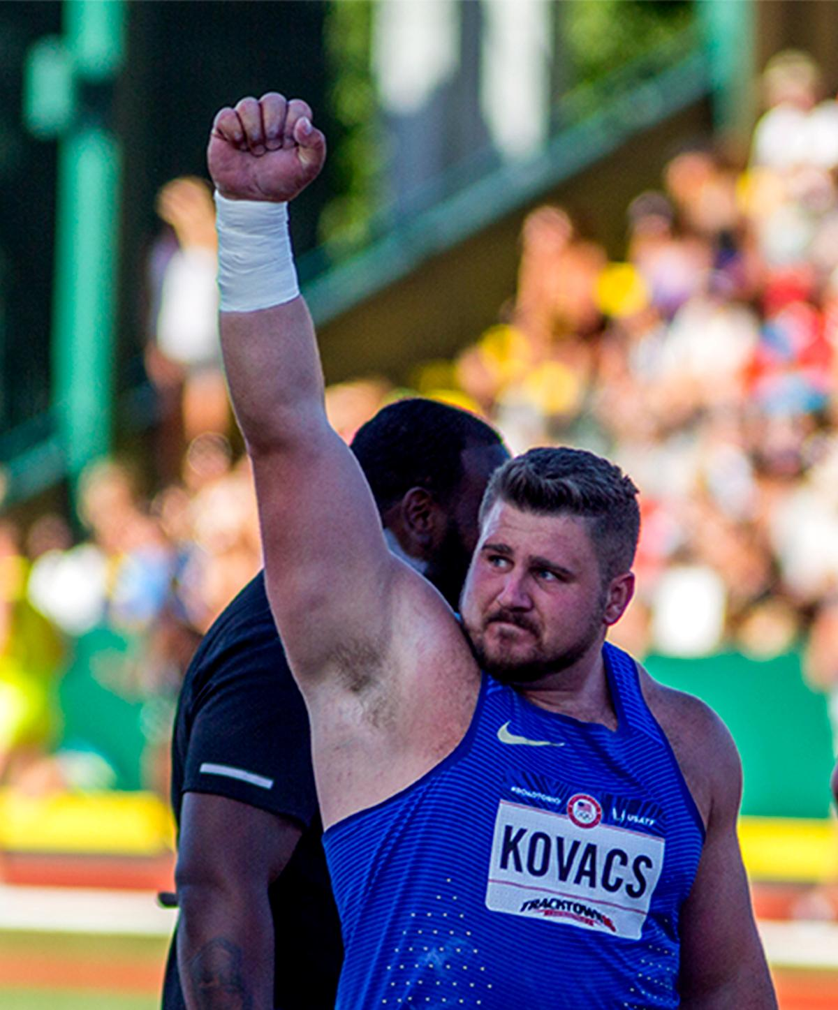 Nike's Joe Kovacs celebrates placing second in the mens shot put competition. Kovacs placed second with a final distance of 20.75m. Day one of the U.S. Olympic Trials Track and Field began on Friday at Hayward Field in Eugene, Oregon and will continue through July 10. Photo by August Frank, Oregon News Lab