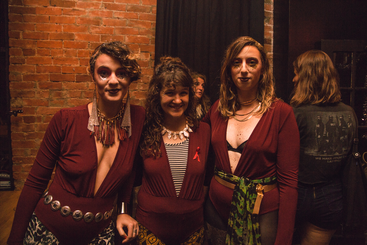 Rosie Kovacs, Lyric Morris-Latchaw, and Brooke Shanesy looking fabulous in matching red body suits. [Image: Catherine Viox]