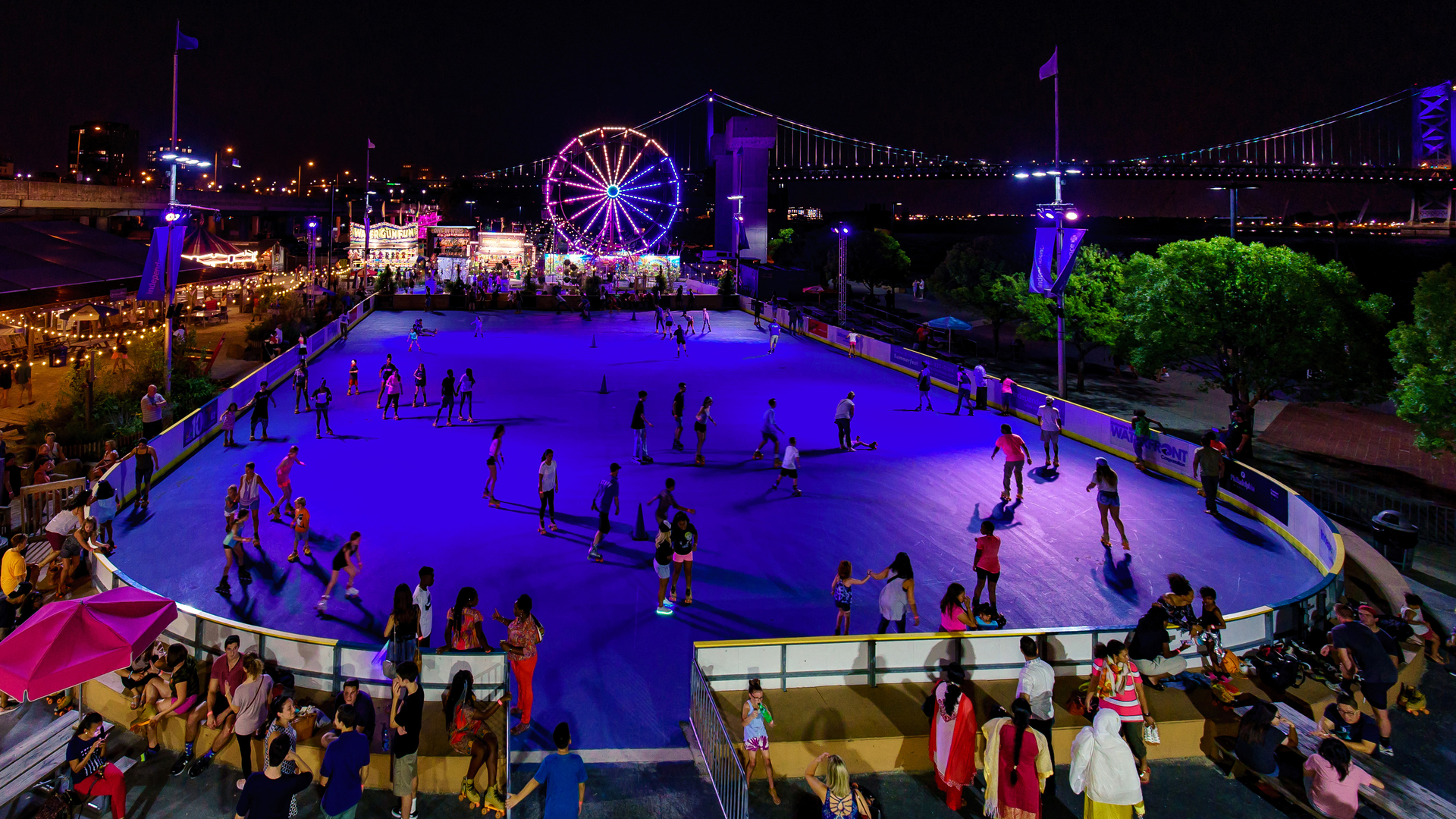 Blue Cross RiverRink Summerfest offers a roller skating rink, a Ferris wheel, a play area for kids, multiple food and drink options, and tons of summer fun. (Image: Matt Stanley)<p></p>