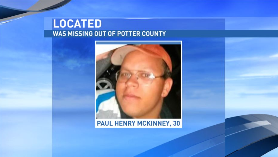 Paul McKinney, 30, was reported missing out of Potter County Monday afternoon. He was located by authorities Tuesday afternoon.  (Photo: Potter County Sheriff's Office)