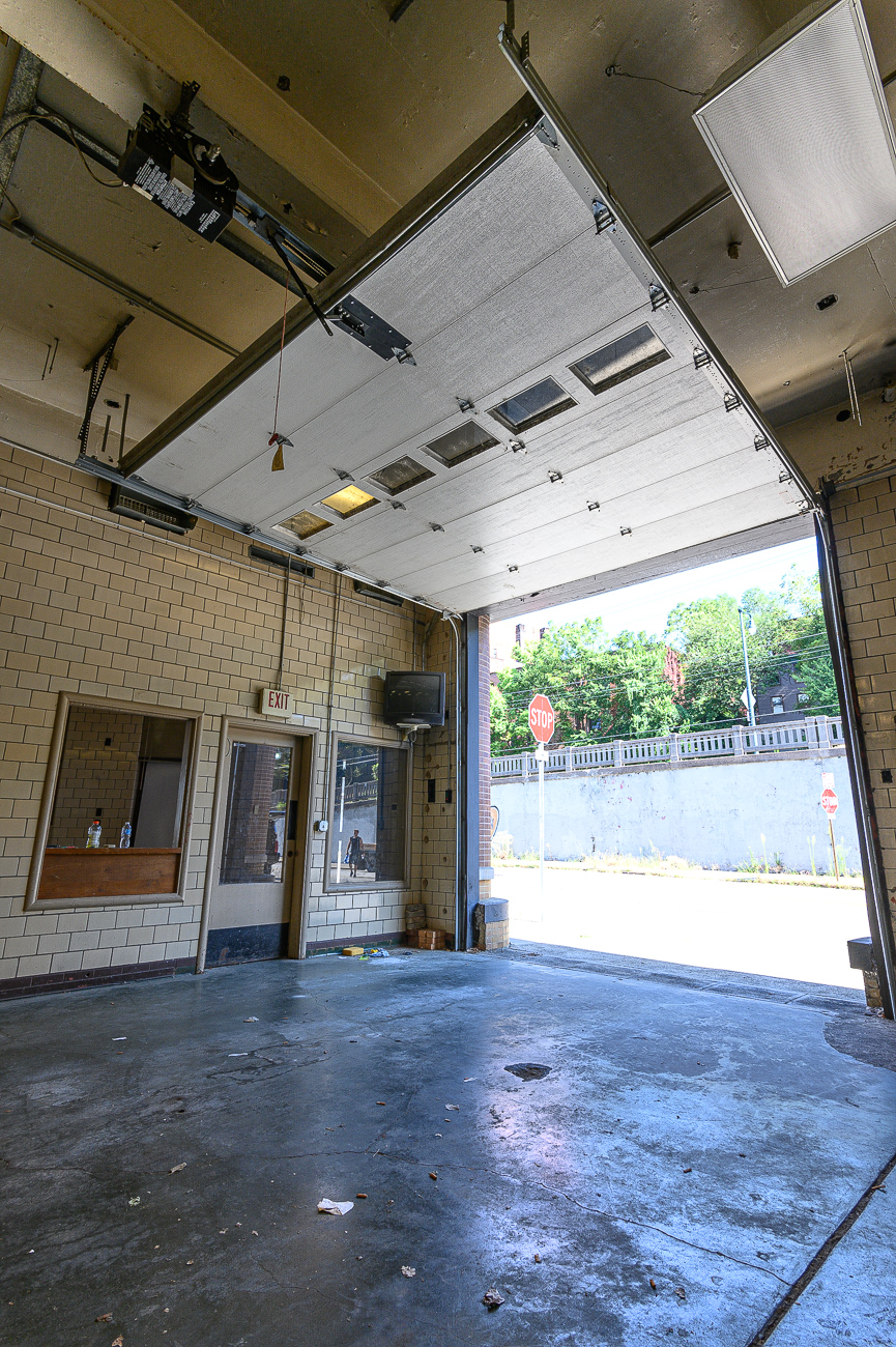 The station has garage doors on the Central Avenue-facing side of the building. / Image: Phil Armstrong, Cincinnati Refined // Published: 10.4.19