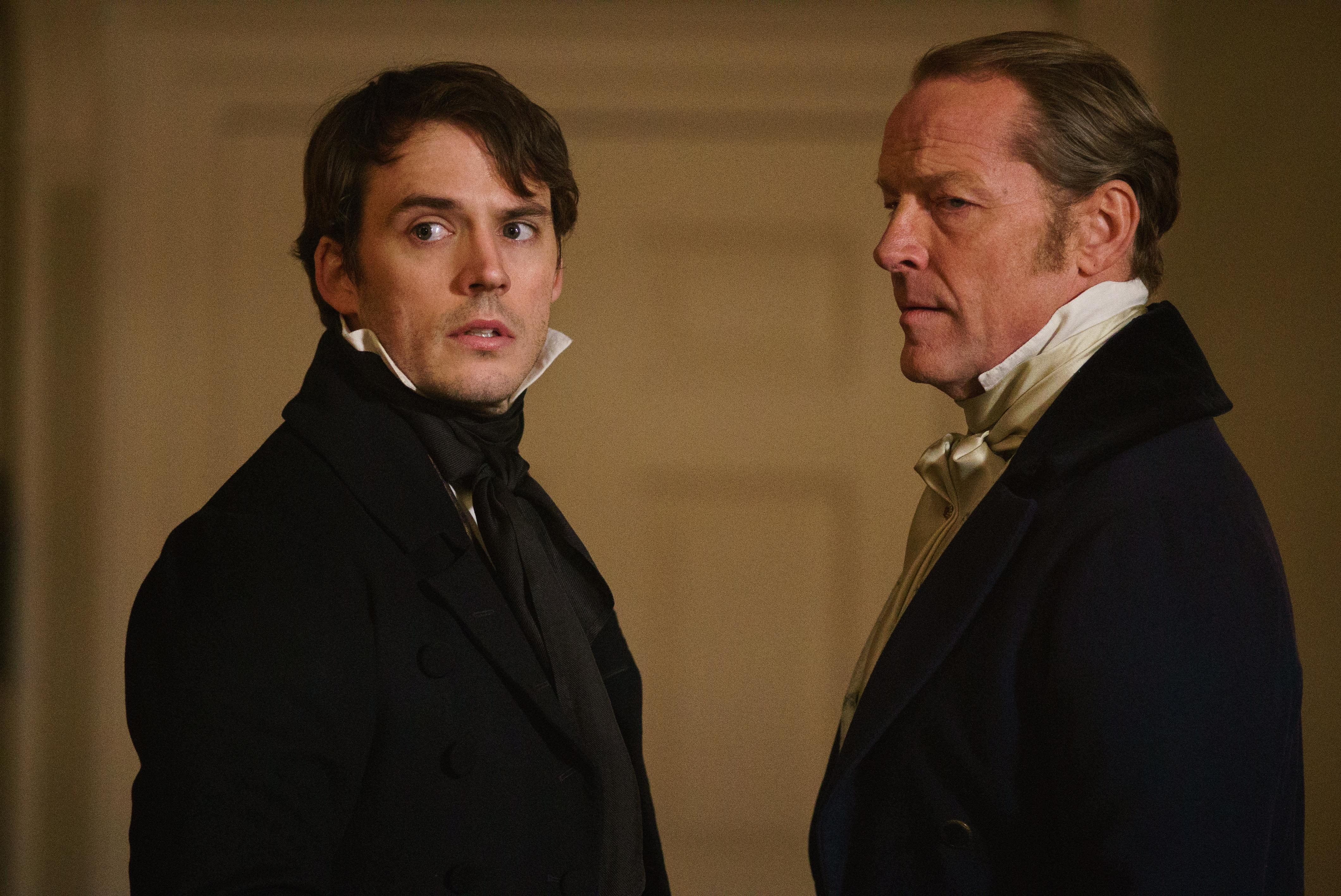 "Sam Claflin as ""Philip"" and Iain Glen as ""Kendall"" in MY COUSIN RACHEL. Photo by Nicola Dove. © 2016 Twentieth Century Fox Film Corporation All Rights Reserved"