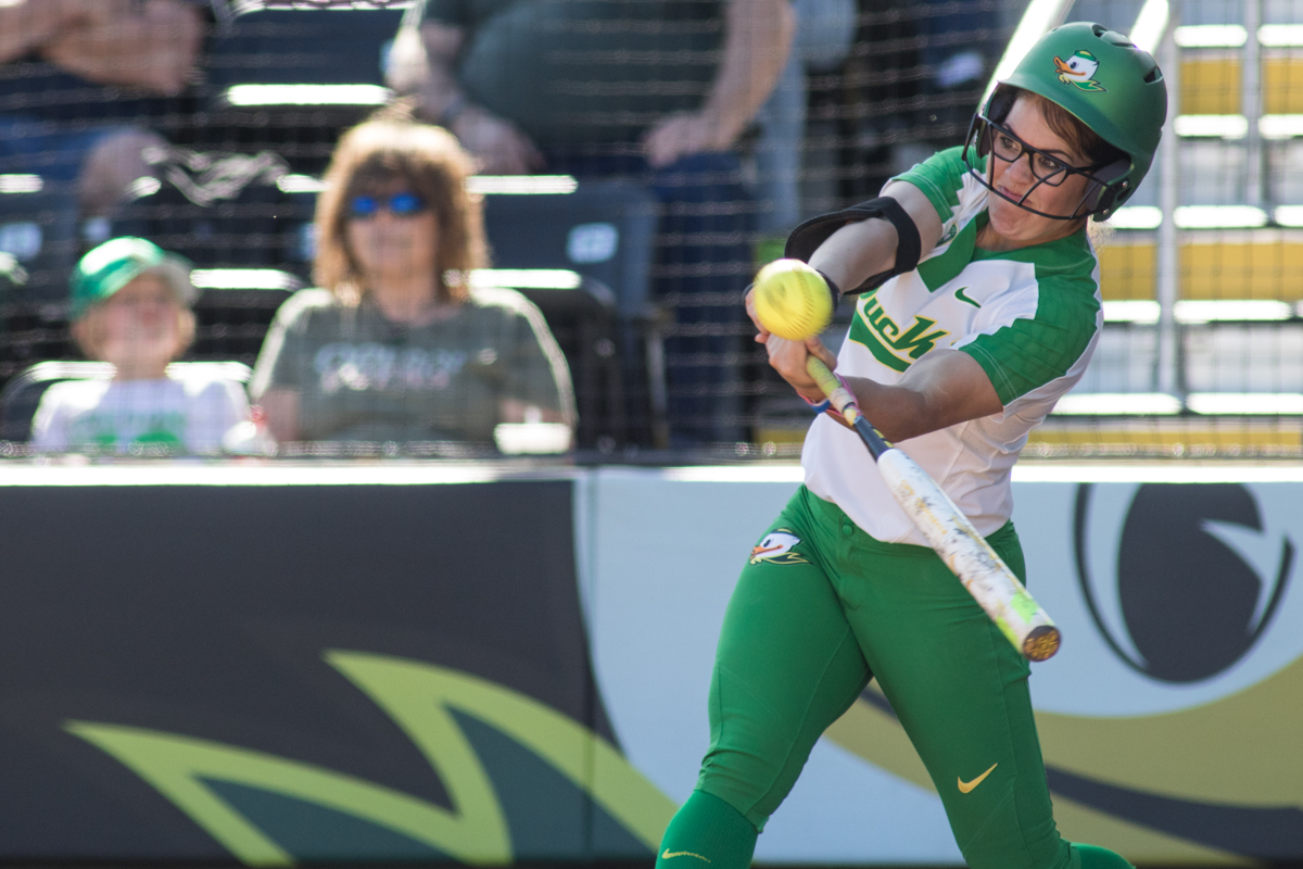 Oregon Ducks right fielder Danica Mercado (#2) swings on a pitch. The Oregon Ducks defeated the Oregon State Beavers seven to zero on Sunday, April 30, 2017. The Ducks' victory marked the third victory of the three game sweep against the Beavers. Photo by Austin Hicks, Oregon News Lab