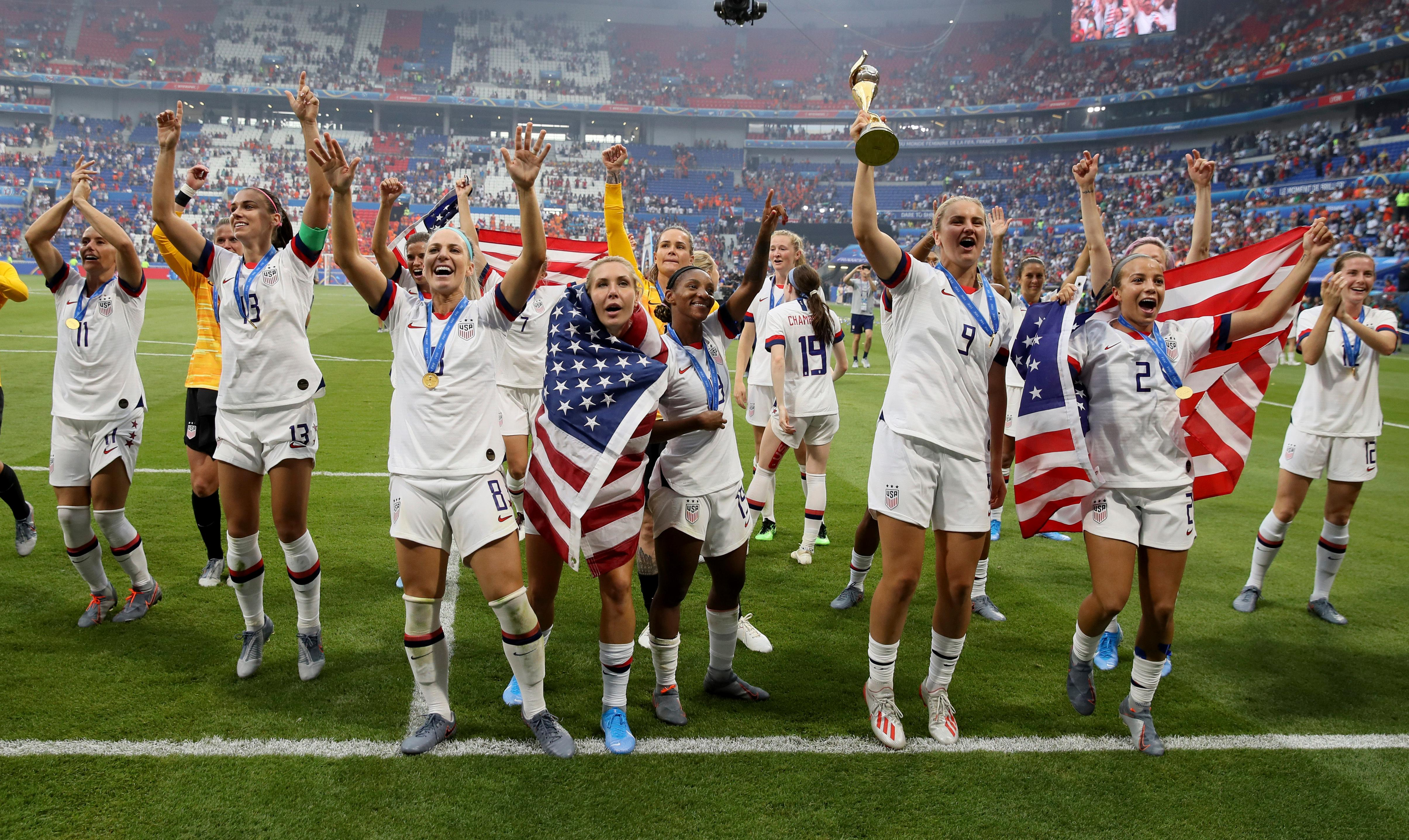 United States players celebrate their victory in the Women's World Cup final soccer match between US and The Netherlands at the Stade de Lyon in Decines, outside Lyon, France, Sunday, July 7, 2019. US won 2:0. (AP Photo/David Vincent)