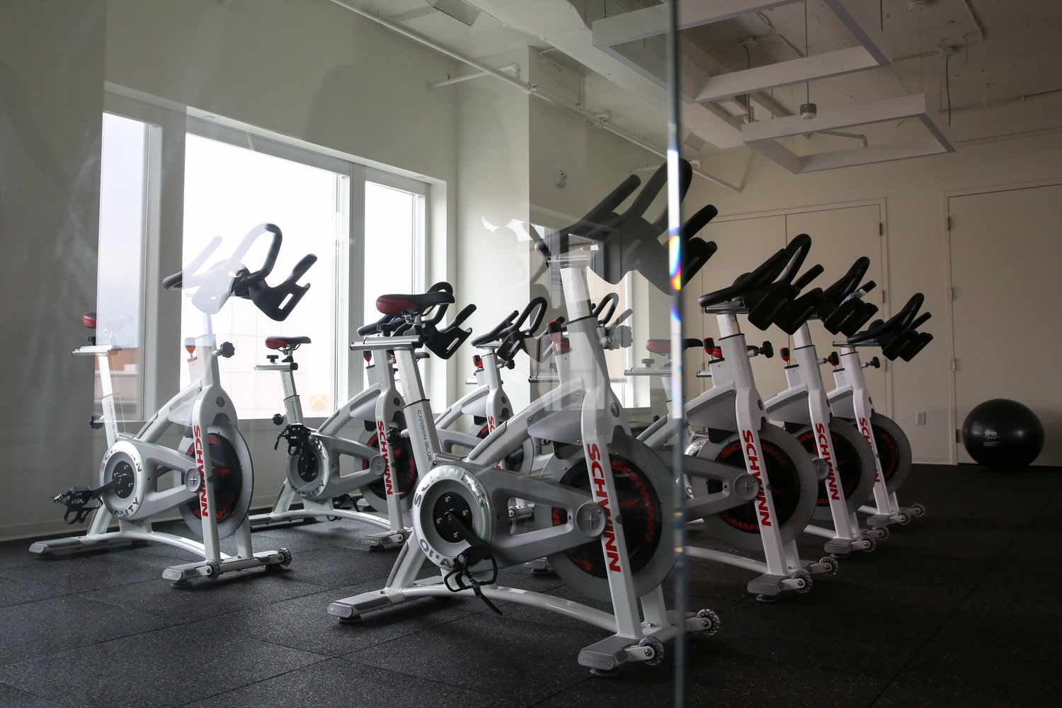The Peloton bikes allow employees to get in workouts that work for their schedule, whether that is an intense 15-minute class or a full 60-minute ride. (Image: Amanda Andrade-Rhoades/ DC Refined)