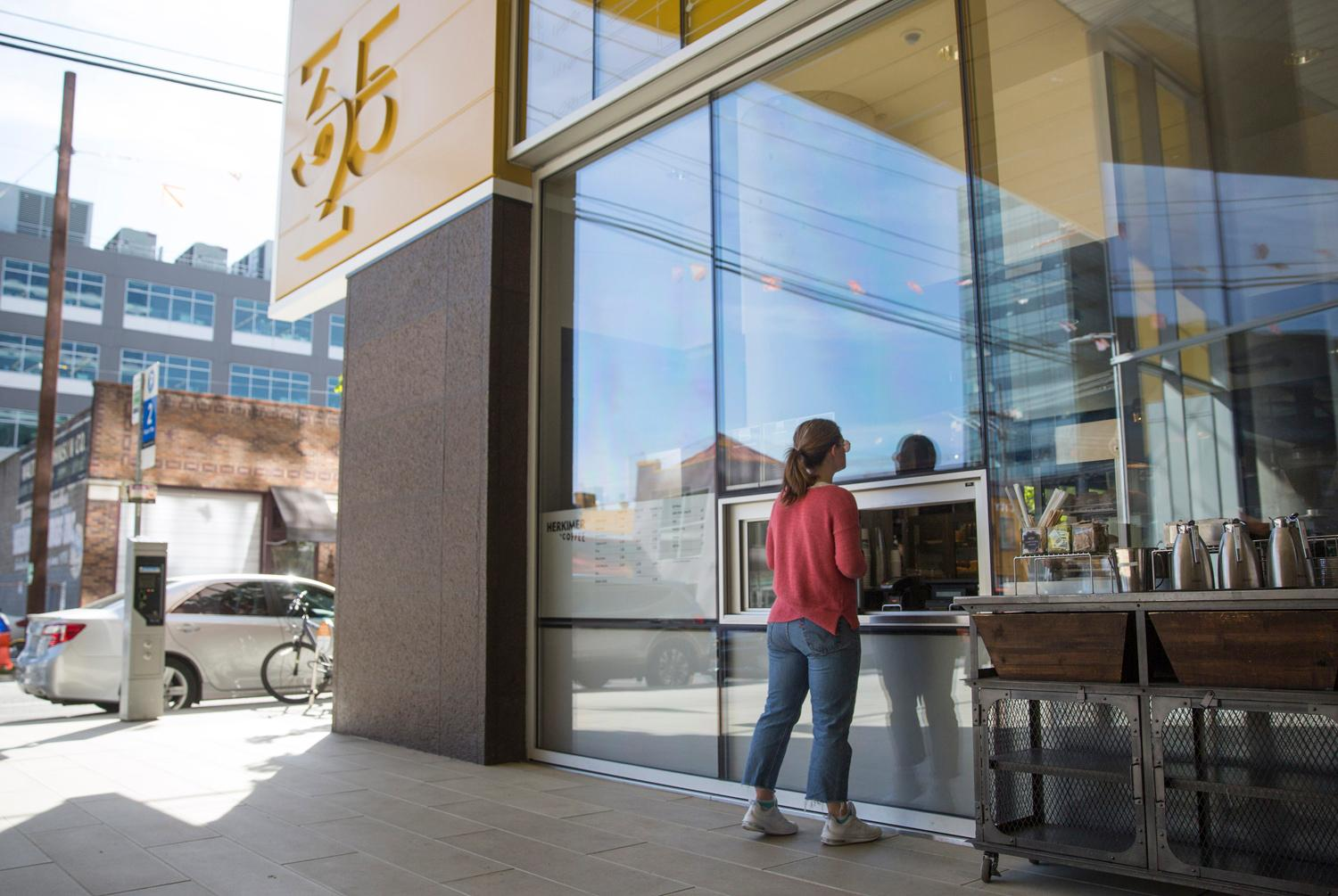 <p>#6. Herkimer Coffee / Apollo Building: Herkimer is one of the only shops on campus with street/walk-up window access. Grab-and-go anyone??</p><p>Did you know there are 17 total coffee shops on the Amazon campus in South Lake Union? The tech company graciously allowed on us on their usually secretive campus to check out as many as we could get to in a two hour window (spoiler alert - it was 12). So...here they are! You'll have to use your imagination for the final missing five. We were quite please to see that all the coffee shops are local coffee roasters. (Image: Sy Bean / Seattle Refined)</p>