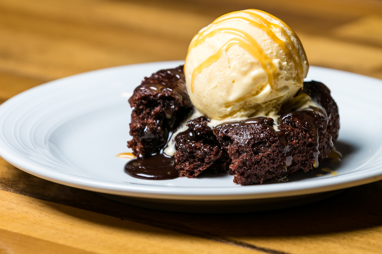 Molten chocolate cake served with vanilla ice cream and a caramel drizzle / Image: Amy Elisabeth Spasoff // Published:{ }4.29.19