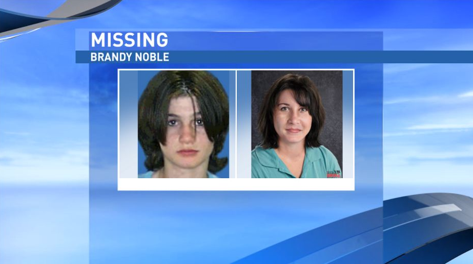 "Brandy Noble has been missing since March 1, 2002. She would now be 31 years old. She had brown hair and hazel eyes, was about 5'3"" tall and weighed around 100 pounds when last seen. NCMEC says Noble's nicknames are ""BG"", ""Boo-Boo"" and ""Little Brandy."" An age-progressed photo shows what she could look like today. (National Center for Missing and Exploited Children)"