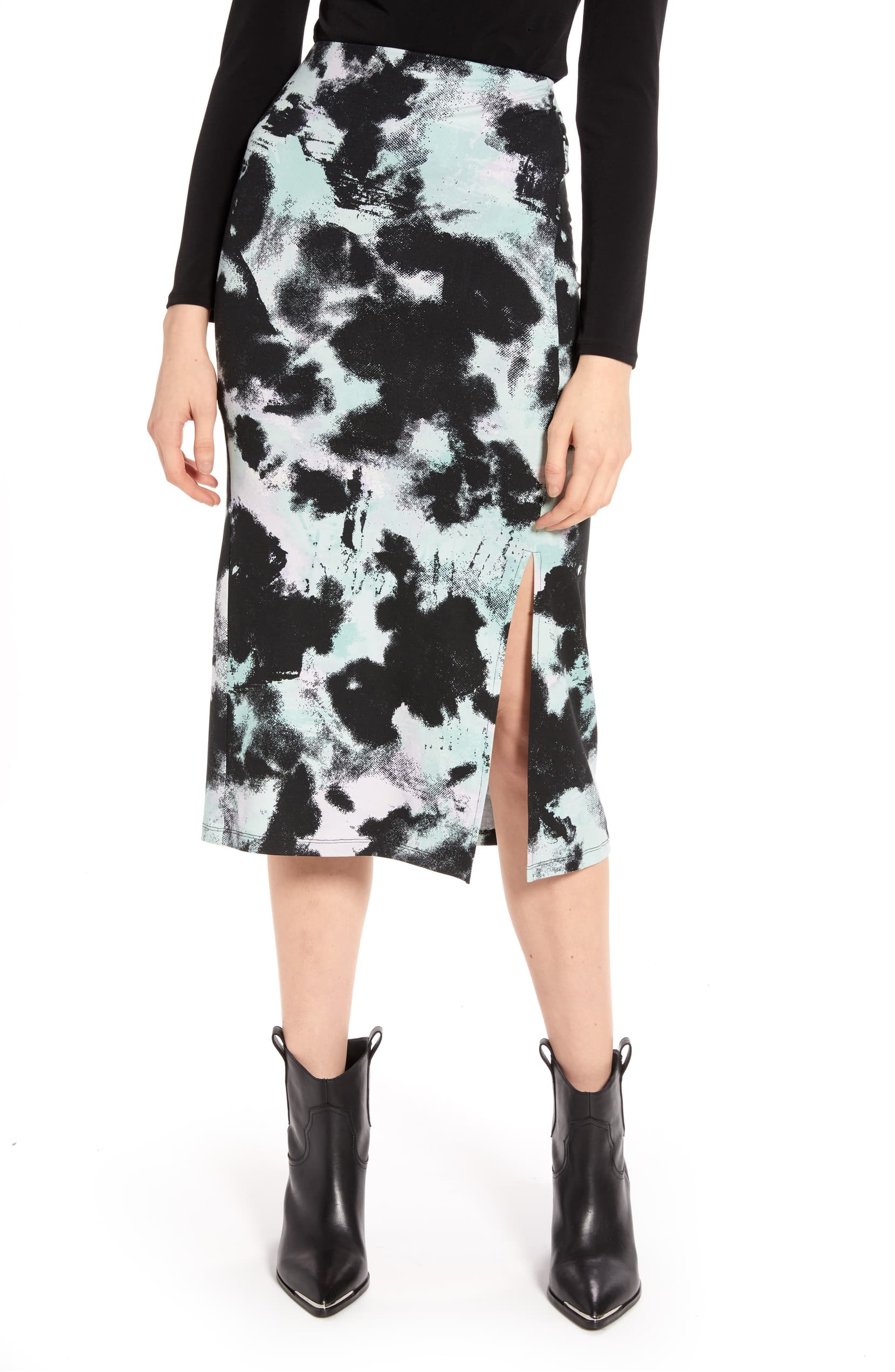 Liven up your look in this easy knit midi patterned in a vibrant tie-dye-inspired print. Shop it{ }- $49. (Image: Nordstrom){ }