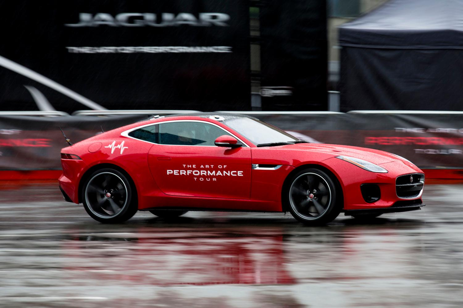 A test drive with Jaguar's F-Type sports car at the Seattle International Auto Show at the CenturyLink Event Center. (Sy Bean / Seattle Refined)