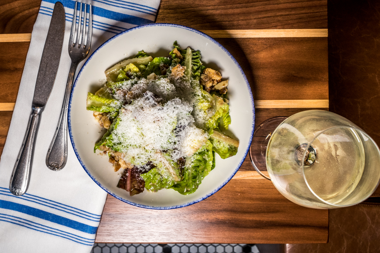 Gem Salad: gem lettuce, walnut, Ubriaco Rosso cheese, croutons, citrus-caesar dressing, and Parmigiano-Reggiano / Image: Catherine Viox // Published: 2.11.20