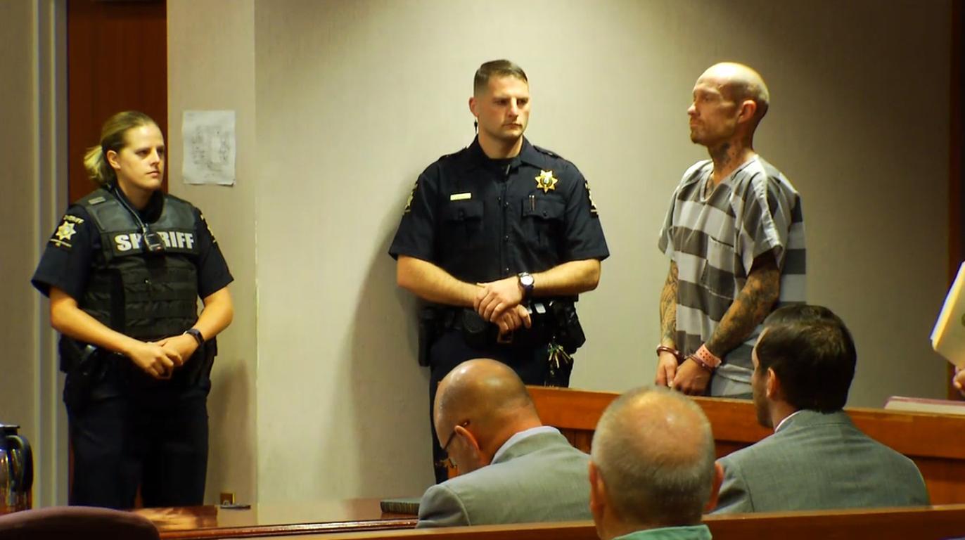 Phillip Stroupe, II, was back in court Tuesday morning, this time in Henderson County to face capital murder charges. (Photo credit: WLOS Staff)