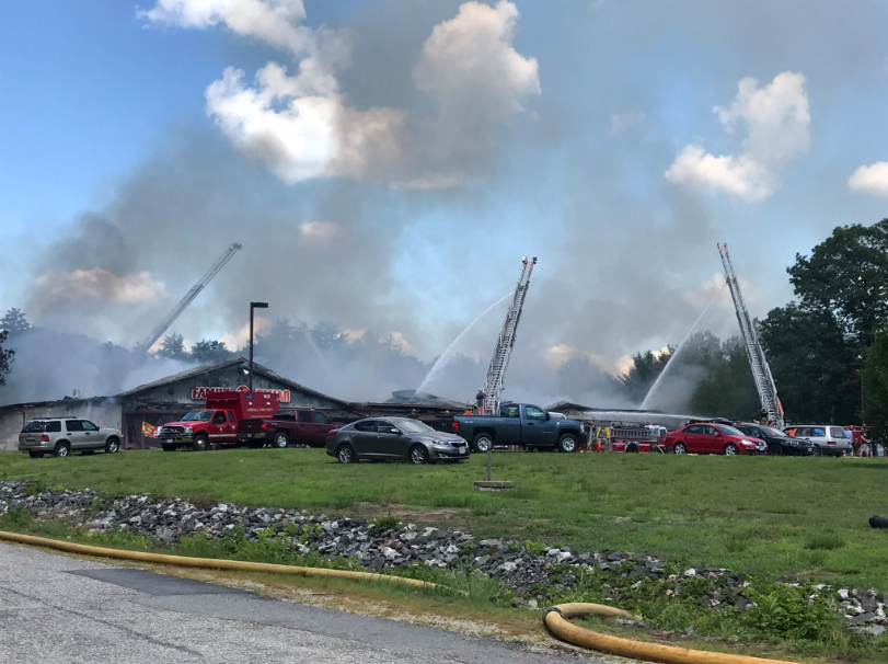 A fire in Waterboro sent a column of smoke into the sky Sunday morning.  (WGME)