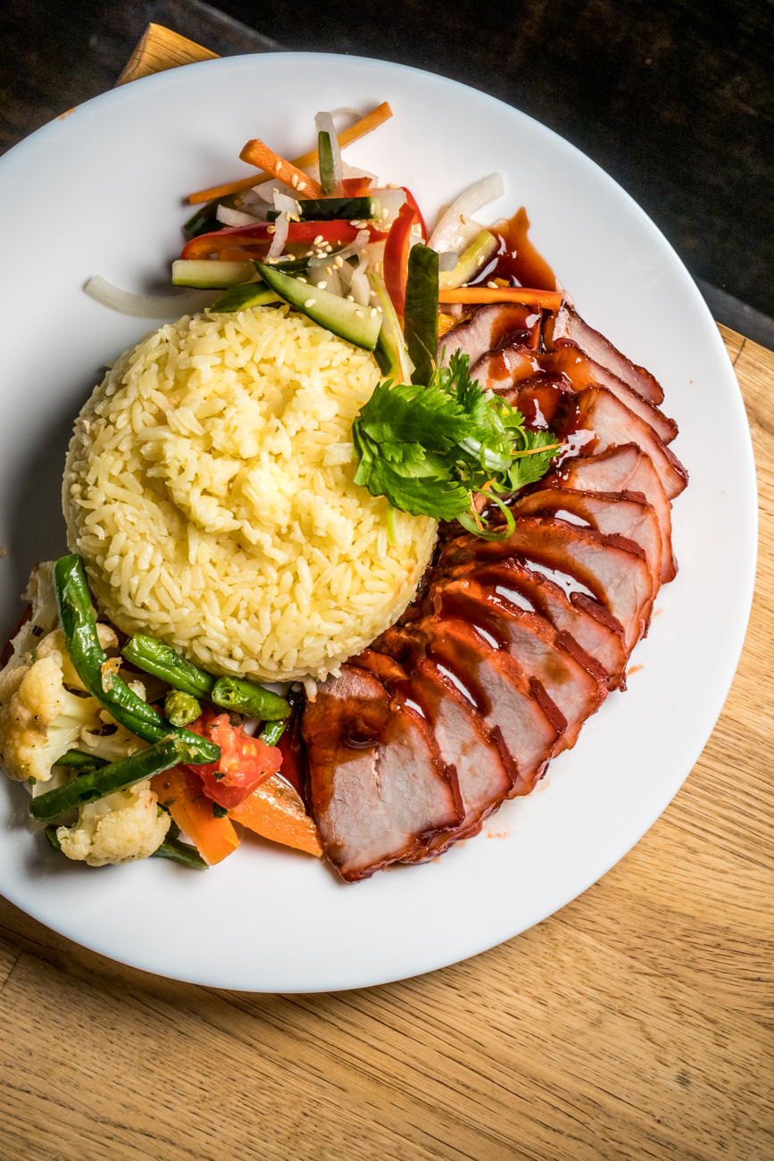 BBQ pork dinner with garlic butter rice and roasted and pickled veggies / Image: Catherine Viox{ }// Published: 1.15.20
