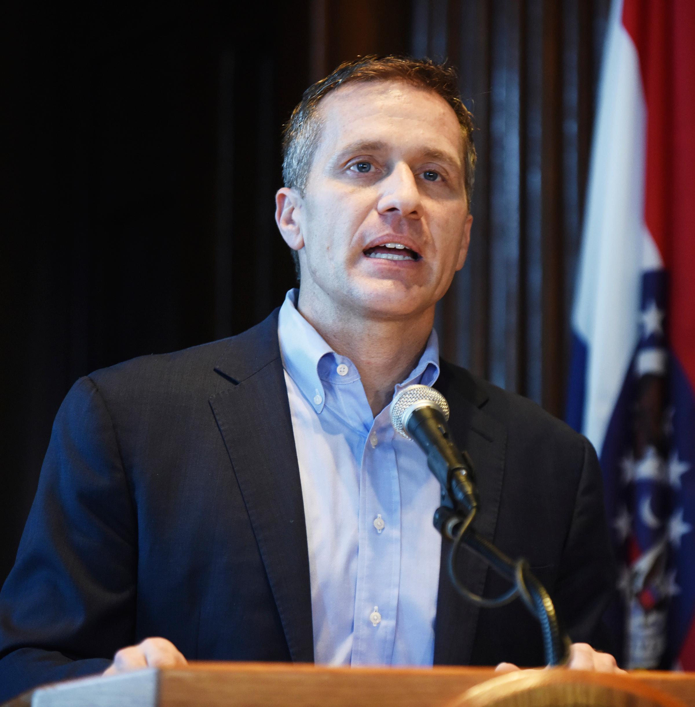Missouri Gov. Eric Greitens speaks at a news conference about allegations related to his extramarital affair with his hairdresser, in Jefferson City, Mo., Wednesday, April 11, 2018. Greitens initiated a physically aggressive unwanted sexual encounter with his hairdresser and threatened to distribute a partially nude photo of her if she spoke about it, according to testimony from the woman released Wednesday by a House investigatory committee. (Julie Smith/The Jefferson City News-Tribune via AP)