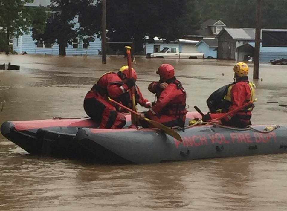 Firefighters from Kanawha County assist in a water rescue in Marion County. (Pinch Volunteer Fire Department)