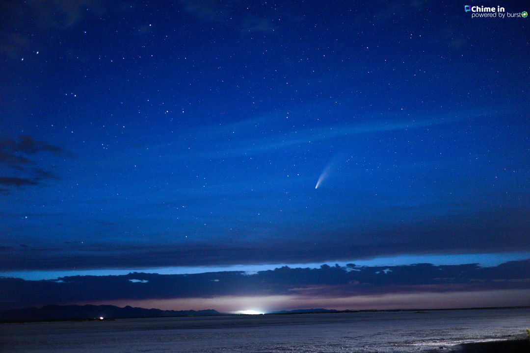 Comet Neowise from the salt flats near Great Salt Lake on June 18th. (Christopher Knowles)