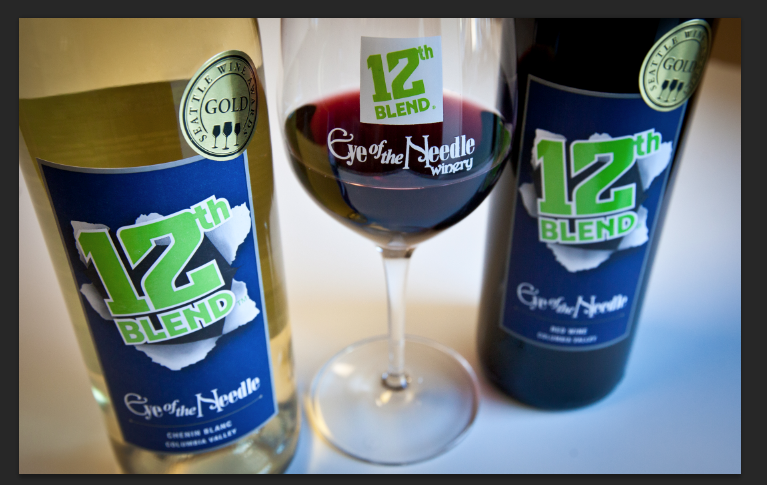 The white and red blends from Woodinville's Eye of the Needle Winery. Proceeds from each bottle of the 12th Blend sold are donated to Northwest Harvest. (Image: Eye of the Needle)