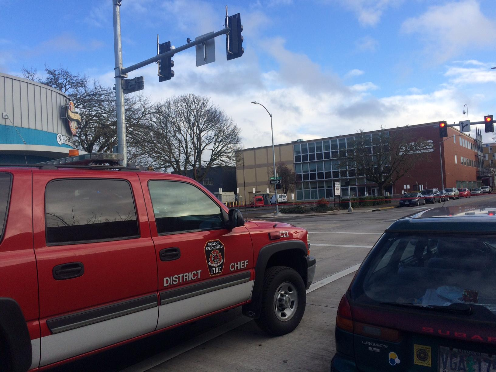 "Bomb Unit investigating ""suspicious device"" in downtown Eugene (SBG)."