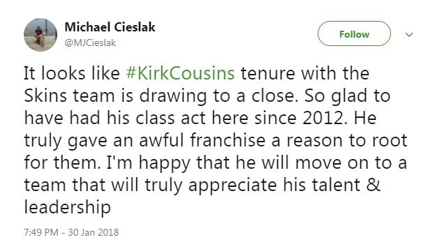 Michael, who is a self-described &quot;Detroit sports fanatic,&quot; expresses his excitement for Cousins' future opportunities in the league. (Image: @MJCieslak/twitter.com/MJCieslak){&amp;nbsp;}<p></p>