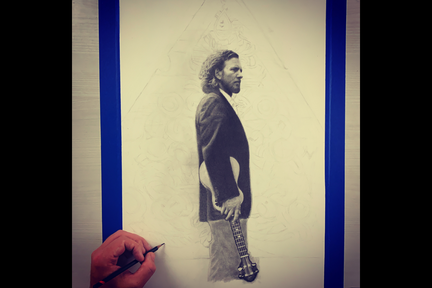 A drawing of Eddie Vedder by artist Keegan Hall. Hall creates photo realistic drawings with pencil and paper. (Image: Keegan Hall)<br><p></p>