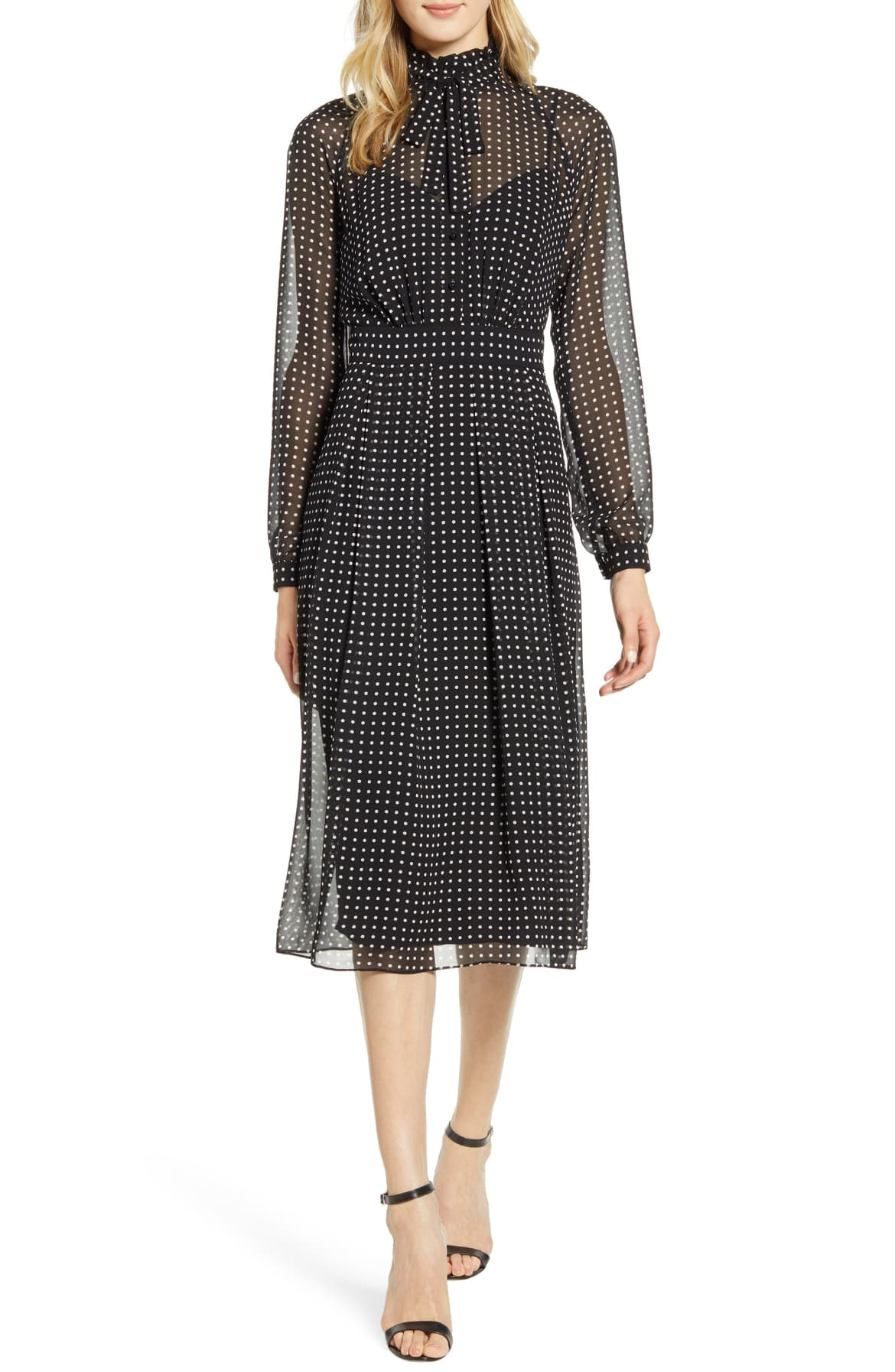 Perfect for a night at the ballet, a shirtdress of sheer, polka-dot georgette is fashioned with a fitted waist, pleated skirt and a bow at the demure neckline. $139. Shop the Look{ }(Image: Nordstrom){ }