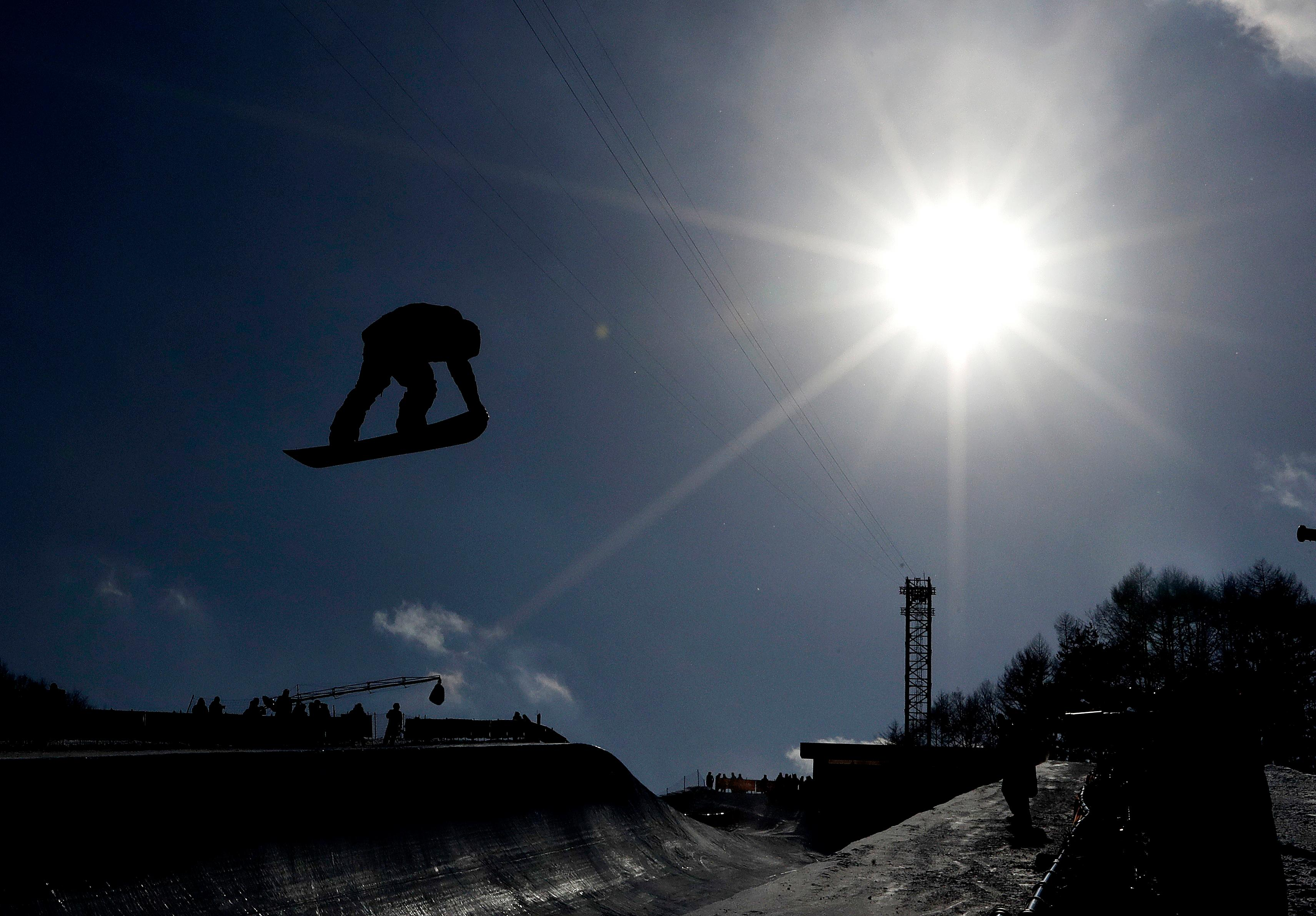 Peetu Piiroinen, of Finland, jumps during the men's halfpipe qualifying at Phoenix Snow Park at the 2018 Winter Olympics in Pyeongchang, South Korea, Tuesday, Feb. 13, 2018. (AP Photo/Lee Jin-man)
