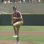 Stroke victim throws the first pitch at Dayton Dragons Game