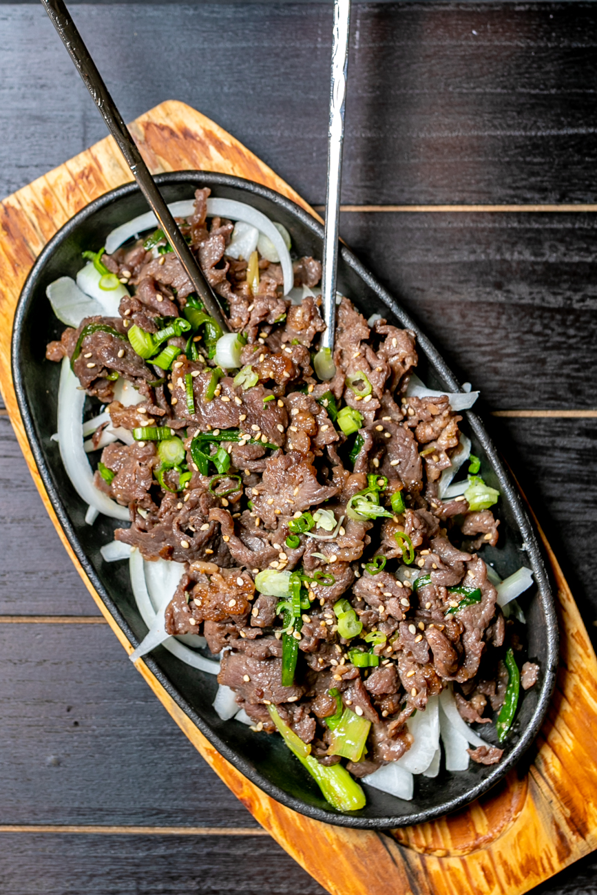 <p>Bulgogi: Thin sliced beef or chicken marinated in our special house sauce with onion / Image: Amy Elisabeth Spasoff // Published: 8.31.18</p>