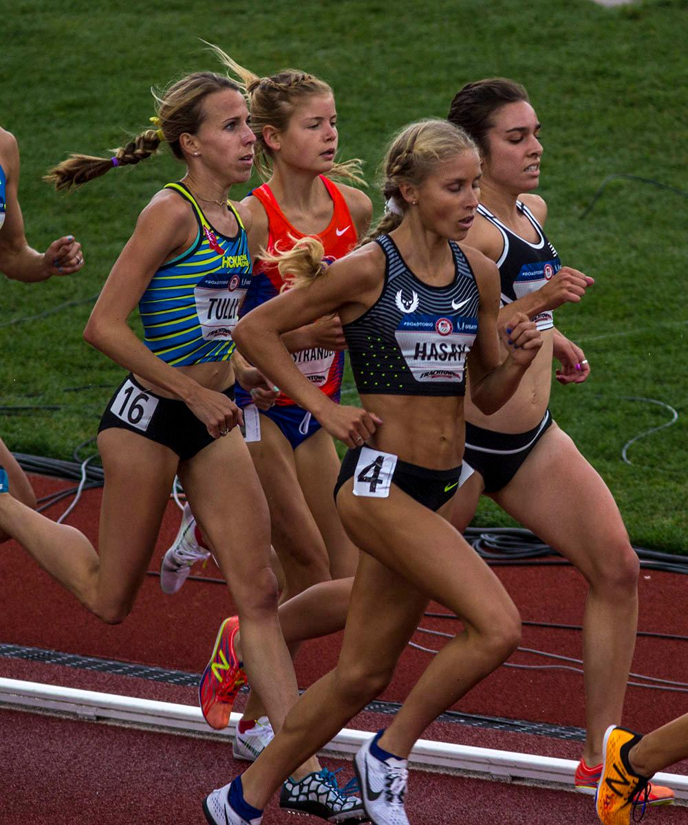From left to right, Nicole Tully, Jordan Hasay, Allie Ostrander, and Abbey D�Agostino race in the Women�s 5000m Run. Tully did not finished after falling during the race. Hasay finished 13th with a time of 15:51.68. Ostrander finished 8th with a time of 15:25.74 and D�Agostino finished fifth with a time of 15:14.04. Day 10 of the U.S. Track and Field Trials concluded Sunday at Hayward Field in Eugene, Ore. The competition lasted July 1 through July 10. Photo by Amanda Butt