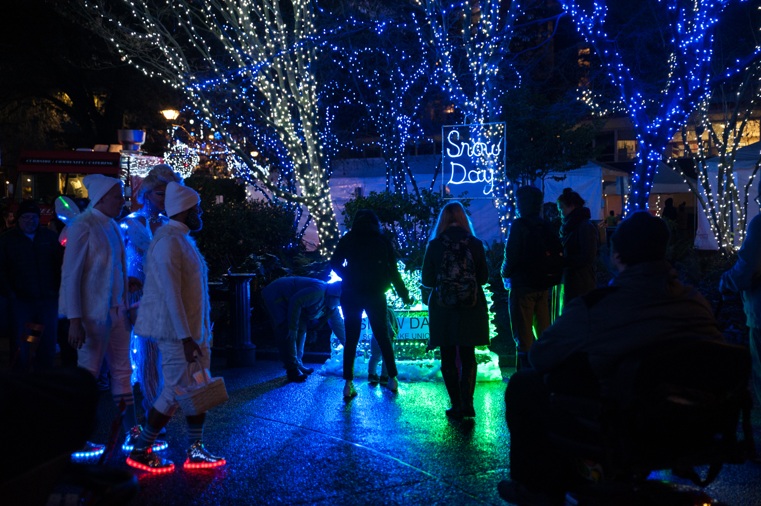 "<p>Holiday cheer, and NO worries about traffic or the city shutting down? Now THAT'S our kind of Snow Day! And it's happening nightly from Dec. 6 through Jan. 20 in Denny Park, South Lake Union. We stopped by a little preview of what patrons can expect from the immersive light installation, complete with 300,000 lights, displayed the park this holiday season. And guys - it's good. More info{&nbsp;}<a  href=""https://www.snowdayslu.com/"" target=""_blank"" title=""https://www.snowdayslu.com/"">online</a>. (Image: Elizabeth Crook / Seattle Refined){&nbsp;}</p>"