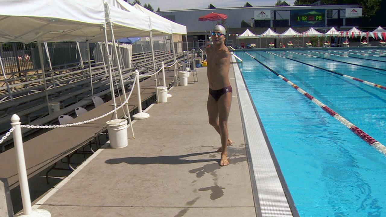 Abbas Karimi gets out of the pool at Mt. Hood Community College. (KATU Photo)