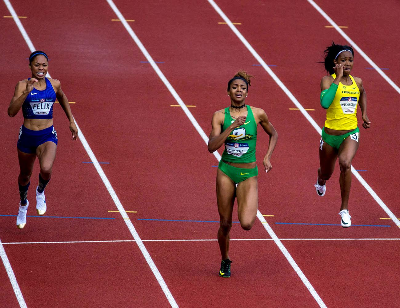From left to right, Allyson Felix, Deajah Stevens, and Ariana Washington race to the finish line in the Women�s 200m Dash final. Felix finished fourth with a time of 22.54. Stevens finished second with a time of 22.30 and Washington finished fifth with a time of 22.65. Day 10 of the U.S. Track and Field Trials concluded Sunday at Hayward Field in Eugene, Ore. The competition lasted July 1 through July 10. Photo by Amanda Butt