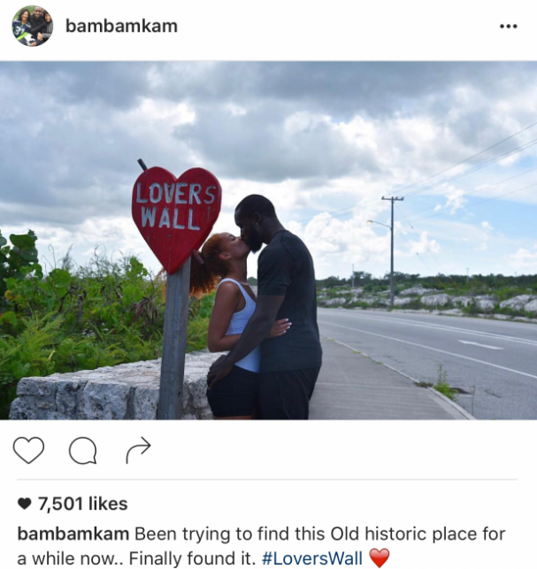 "Kam and Tiffany found this pose infront of ""Lover's Wall"" sign. (Image courtesy of @kamchancellor / Instagram)."