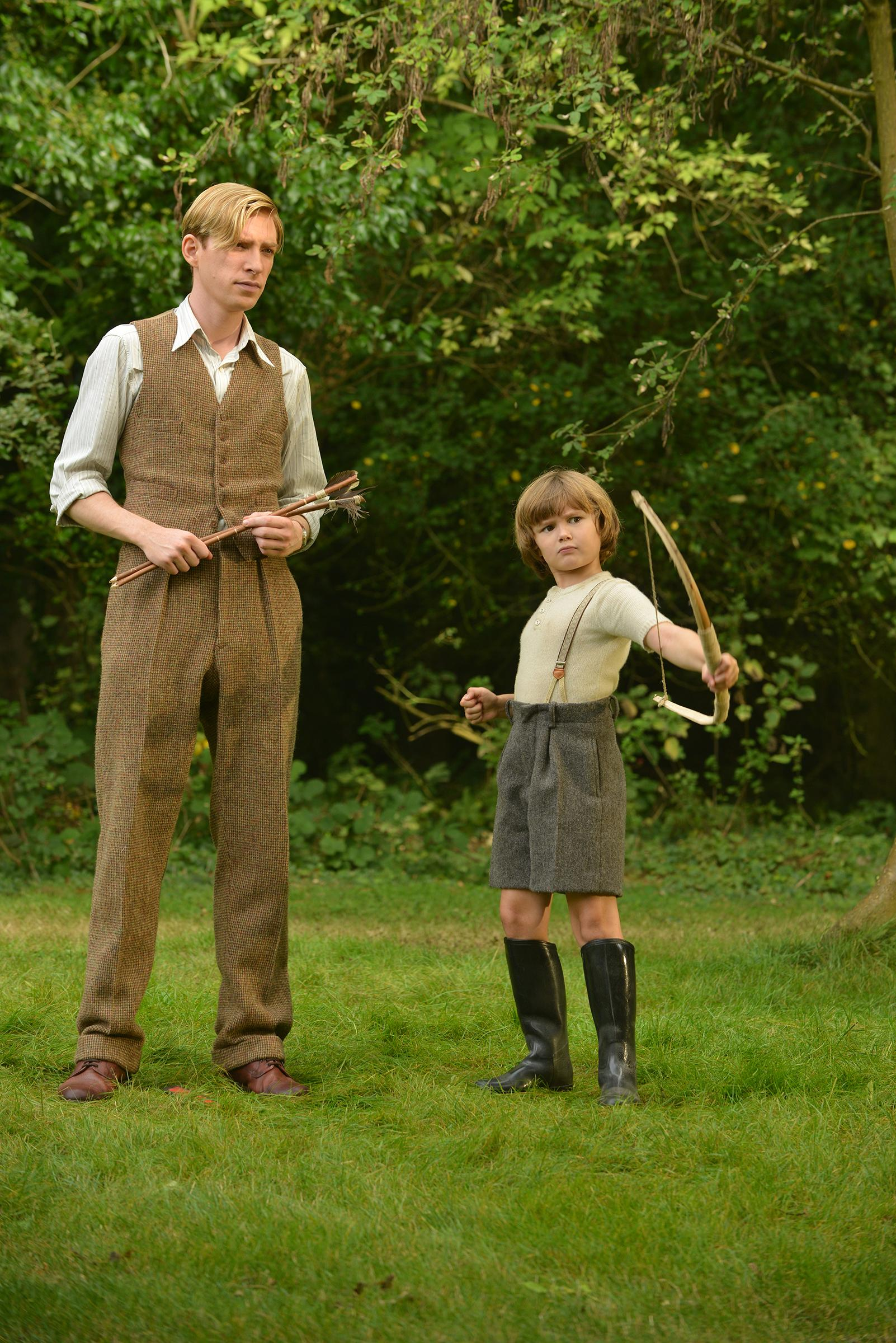 Domhnall Gleeson and Will Tilston in the film GOODBYE CHRISTOPHER ROBIN. Photo by David Appleby. © 2017 Fox Searchlight Pictures