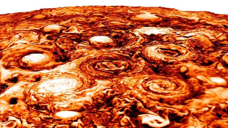 This computer-generated image shows the structure of the cyclonic pattern observed over Jupiter's south pole. Like in the North, Jupiter's south pole also contains a central cyclone, but it is surrounded by five cyclones with diameters ranging from 3,500 to 4,300 miles (5,600 to 7,000 kilometers) in diameter. (NASA/JPL-Caltech/SwRI/ASI/INAF/JIRAM)