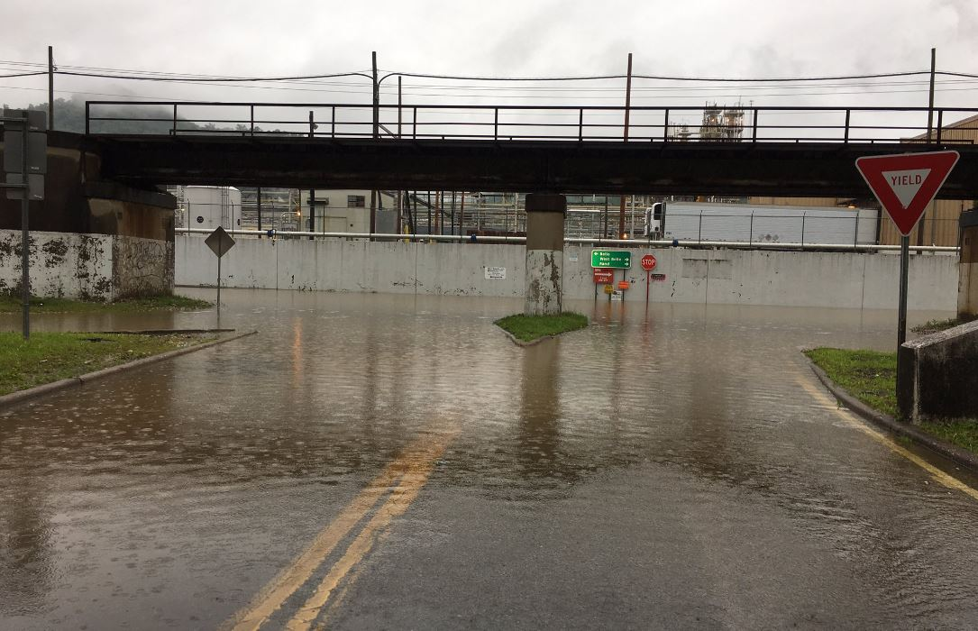 As rain continues to fall in the area, metro 911 is reported Friday night the underpass on Route 60 in Belle is flooded by the Chemours Plant, which is the old DuPont Plant. (WCHS/WVAH)
