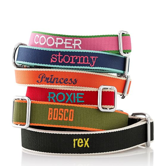 <p>Your pup deserves to be dressed up in preppy-chic with this Harry Barker personalized collar. Available in bright colors with a sleek design, the collar is{&amp;nbsp;} lightweight, quick-drying and odor resistant (hooray!). Embroidery is available in your choice of colors and is machine washable. The Chelsea collar comes in a variety of sizes and is made of woven jacquard webbing. Find out more at www.markandgraham.com. (Image: Mark and Graham)</p>