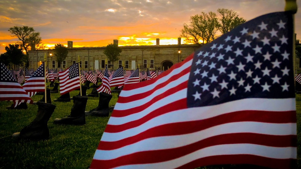 Boots on the Ground for Heroes Memorial displayed at Fort Adams
