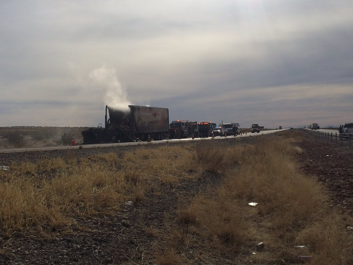 Semitruck caught fire along I-10 West near Tornillo{ }