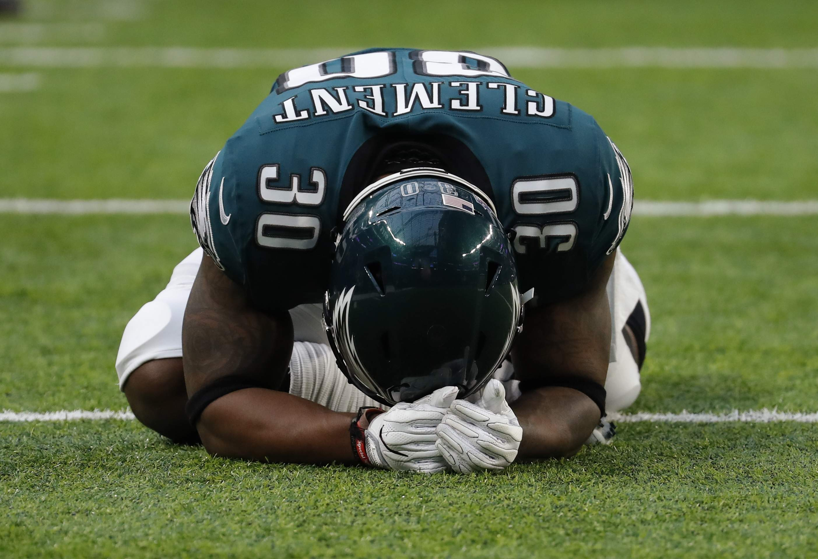 Philadelphia Eagles running back Corey Clement (30), stretches before the NFL Super Bowl 52 football game against the New England Patriots, Sunday, Feb. 4, 2018, in Minneapolis. (AP Photo/Charlie Neibergall)