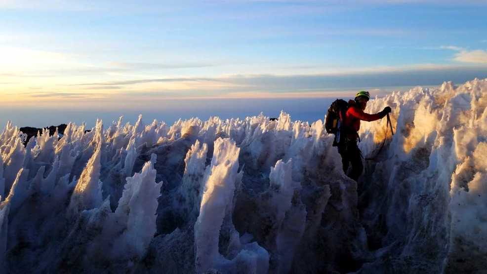 'Like walking through a forest of ice': Climber finds unique ice pillars atop Mt. Rainier