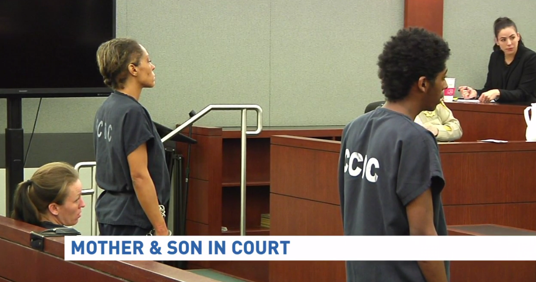 Tianna Thomas and her son, Richard Newsome, appeared in court Thursday, Feb. 16, 2017, for their District Court arraignment, following the murder of 18-year-old Richard Nelson last month. (KSNV)
