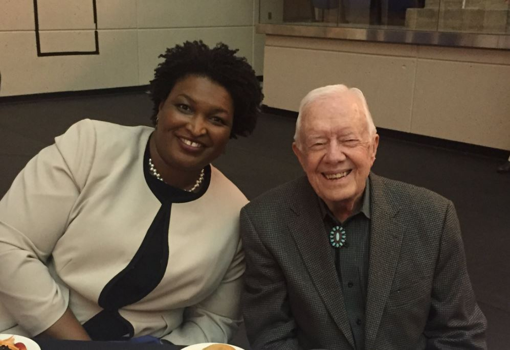 President Jimmy Carter and Congresswoman Stacey Abrams spoke at the Boys and Girls Club in Americus on Tuesday / Brittany Collins (WGXA)