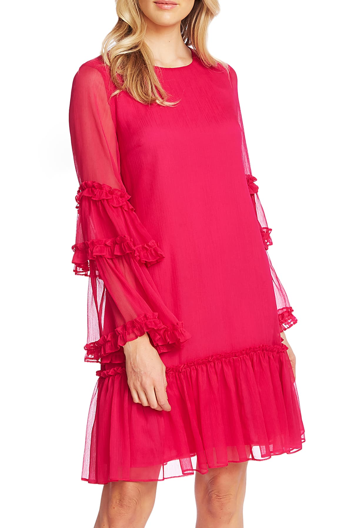 Charm everyone in the room wearing this crinkled chiffon shift, designed with ruffled bell sleeves and a flouncy frill-trimmed hem. $139 -{ }Shop the Look{ }(Image: Nordstrom){ }
