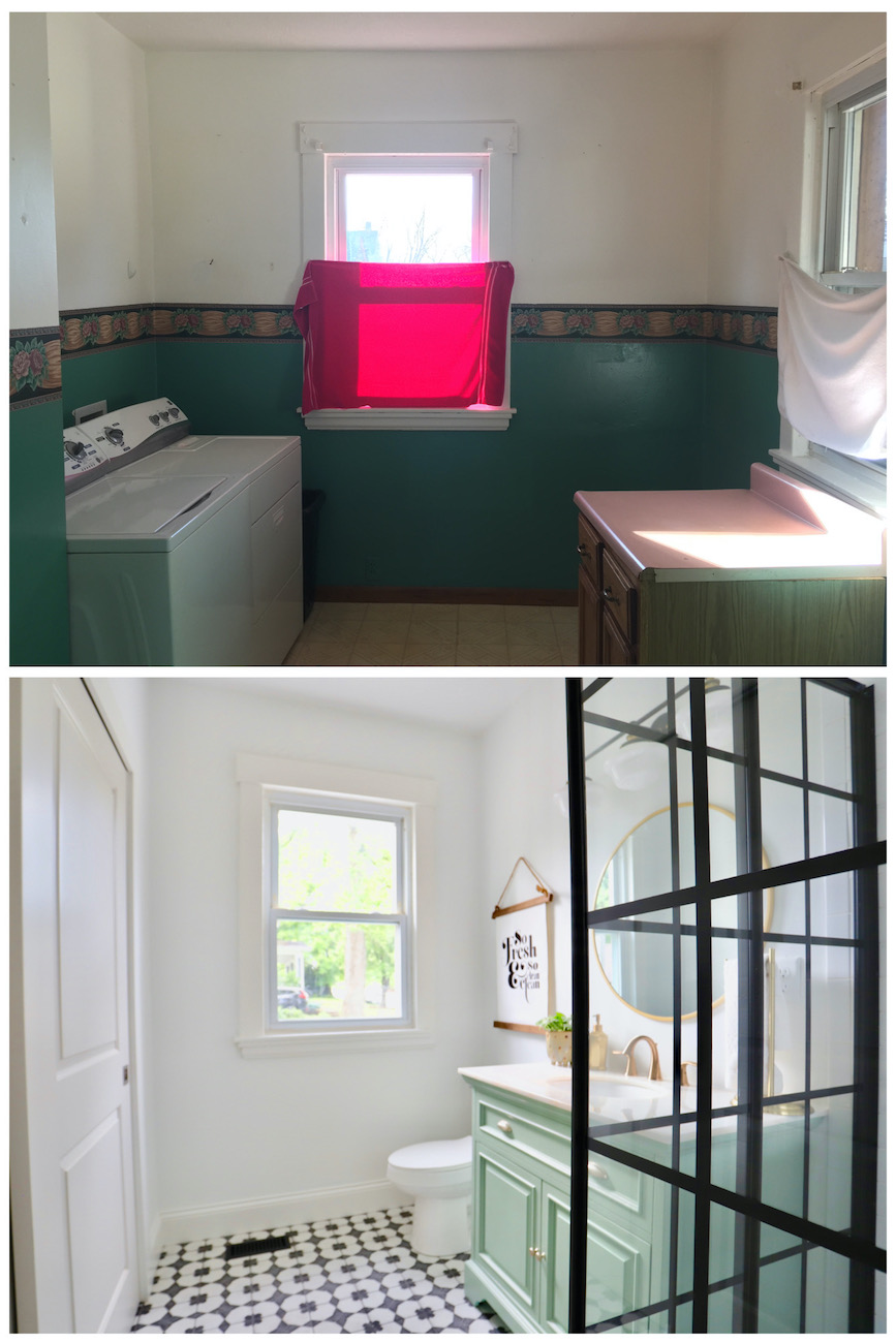The former laundry room (top) was transformed into the second full bathroom off the master (bottom).  / Image courtesy of Nicole Nichols // Published: 6.2.20