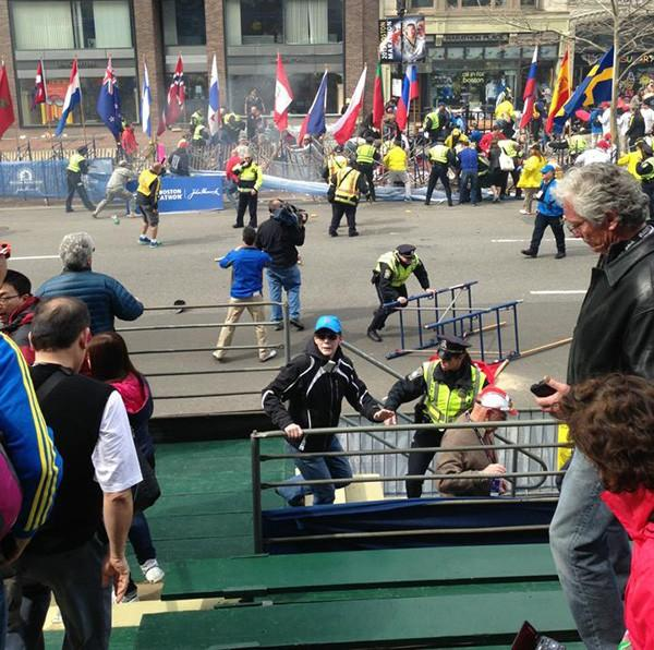 Photo taken from the stands near the finish line at the 2013 Boston Marathon.
