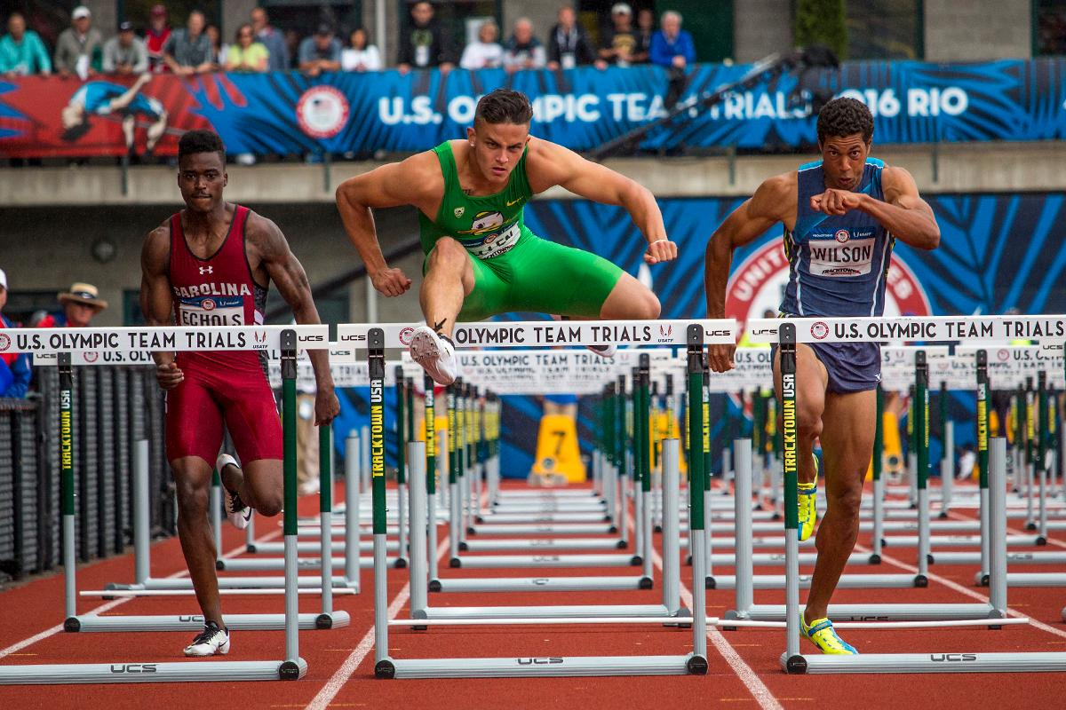 South Carolina Gamecock Dondre Echols, Oregon Duck Devon Allen, and Ryan Wilson compete during the prelims of the men�s 110 meter hurdles. Day Eight of the U.S. Olympic Trials Track and Field continued on Friday at Hayward Field in Eugene, Ore. and will continue through July 10. Photo by Katie Pietzold