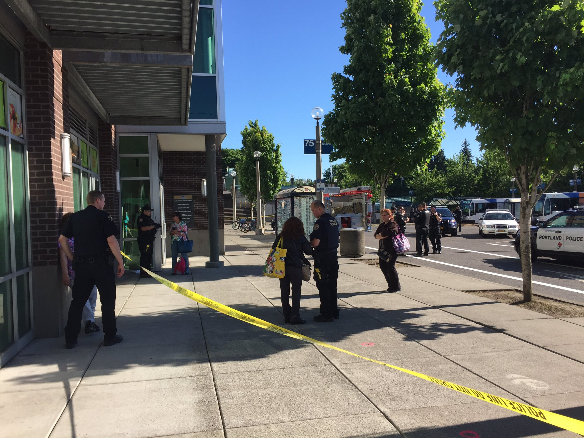 Hollywood Transit Center stabbing investigation (KATU News photo)
